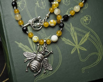 Melissa Bee Goddess Necklace with Yellow Jade & Black Onyx - Bee Priestess - Honey - Sweetness, Healing - Pagan, Wicca, Witchcraft