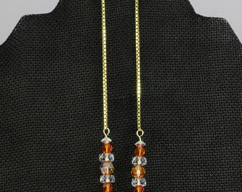 Handmade Shoulder Sweeper  Earrings With Orange Color Beads Gold Filled Hooks 5 Inch Length Oscarcrow