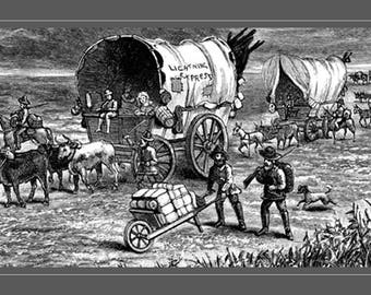 Wagon Train. Wild West Vintage Print