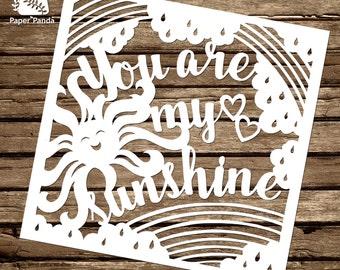 PAPER PANDA Papercut DIY Design Template - 'You Are My Sunshine'