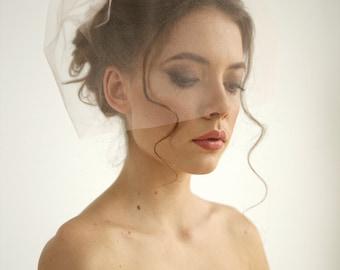 Blush pink tulle birdcage wedding veil, simple birdcage wedding veil, tulle birdcage veil, mini veil, Rose - Style V24