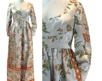 Vintage 1960s Satin Silk Brocade Dress with Velvet Trim / Size S/M