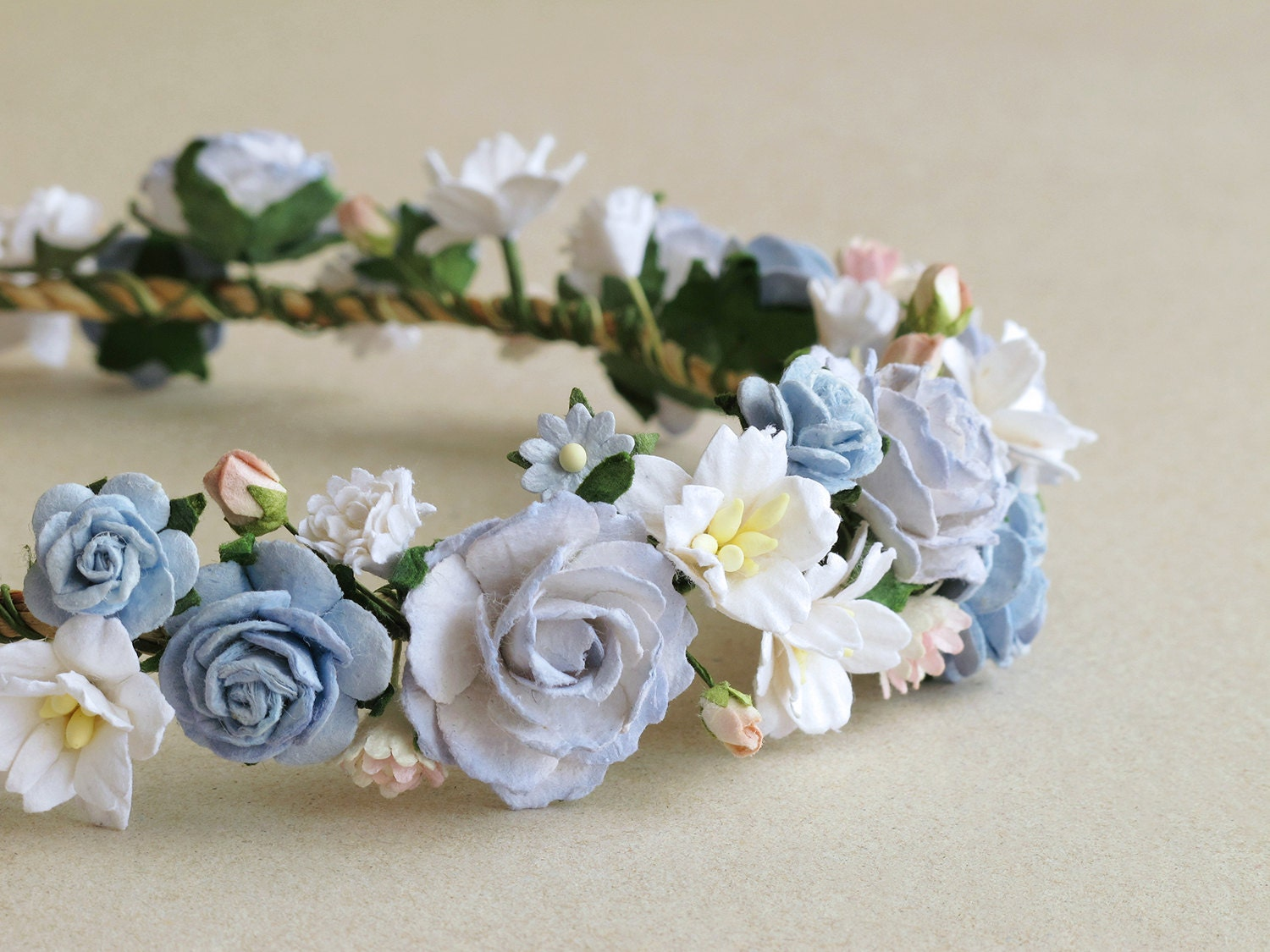 Flower crown serenity blue paper flower head band made of zoom mightylinksfo Choice Image