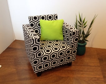 """Black&White Geo Chair, Dollhouse furniture, 1:6 scale, playscale, 10""""- 12"""" dolls"""