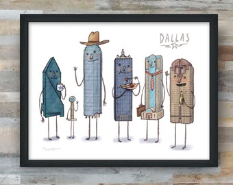Dallas skyline art print