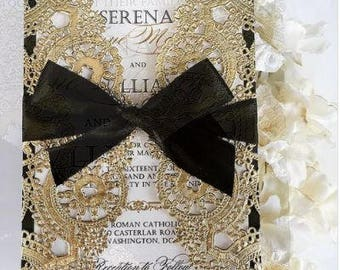 2 Layer Black and Gold Wedding Invitation