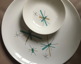 Vintage Salem China North Star Northstar Dinnerware Dishes Retro Starburst Pattern in Teal and Gold & Vintage dinnerware | Etsy