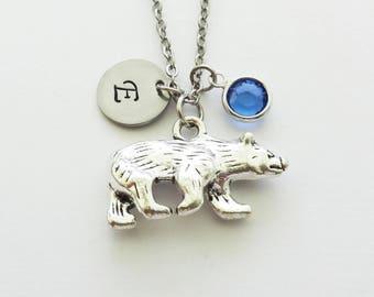 Bear Necklace, Polar Arctic Bear, North Pole, Boy Gift, Swarovski Birthstone, Silver Initial Jewelry, Personalized Monogram, Hand Stamped