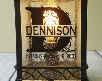 Personalized lantern centerpiece - Electric wax warmer - Lamp night light - wedding gifts personalized - Electric lamp - anniversary gift