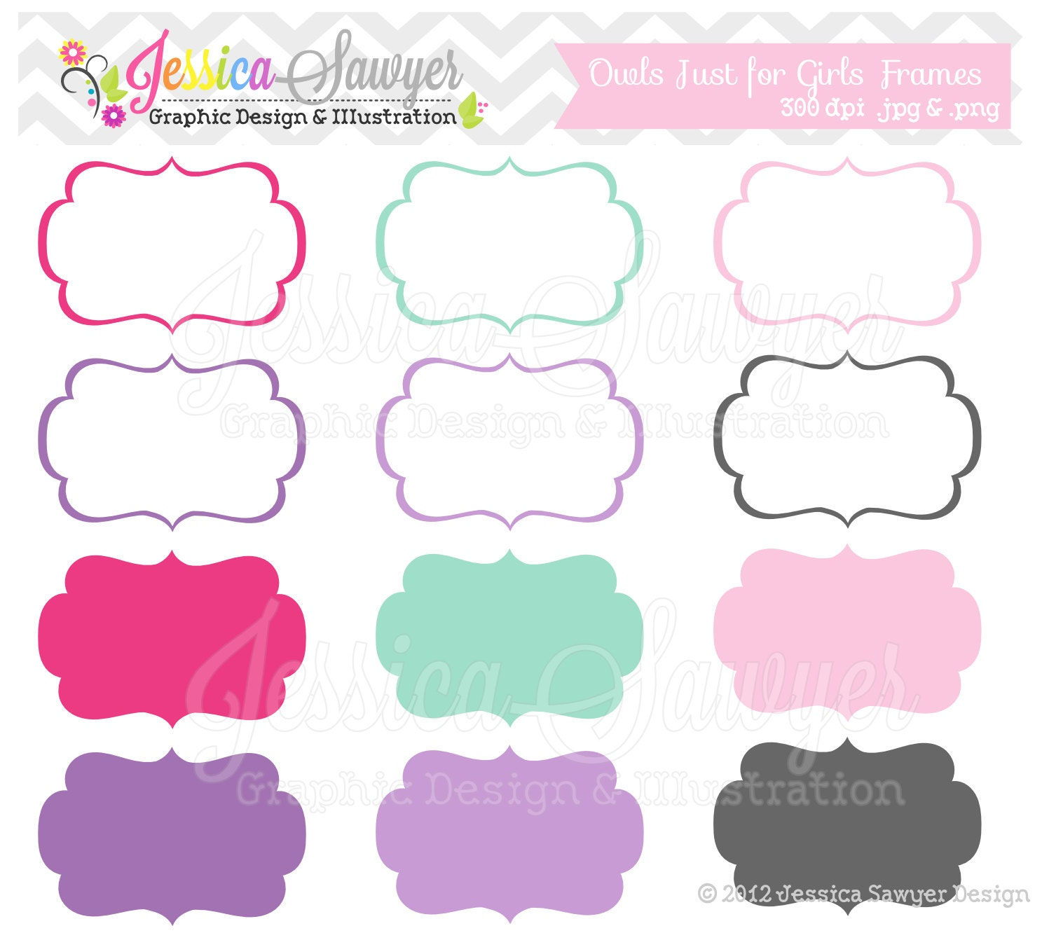 INSTANT DOWNLOAD just for girls labels tag clipart