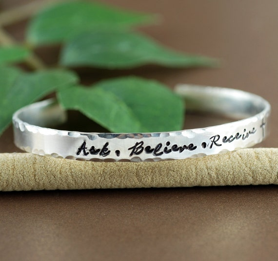 Ask Believe Receive Cuff Bracelet, Silver Cuff Bracelet, The Law of Attraction, Personalized Bracelets, Inspirational Bracelets, The Secret
