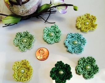 7 Green crochet flowers... Green flowers, Glass Pearl ,  baby, gift wrap, hair clips, Scrapbooks,
