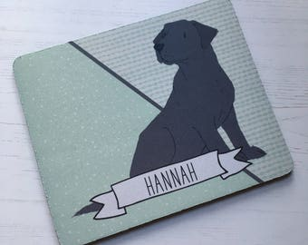 Personalised labrador dog mousemat mouse pad dogs co-worker christmas gift stocking filler green grey blue