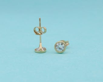 Tiny Earrings 14K Yellow Gold 3.7mm Bezel cz lab created diamond pair of earrings for sale