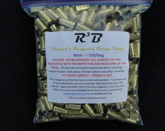 9mm Luger - 1000 count - Recycled Range Brass - Sorted and Tumbled (Polished)