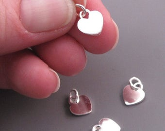 Small Sterling Silver Heart Charm, Valentine's Day Gift, Heart Pendant, Bracelet Charm, Heart Necklace Pendant with Jump Ring