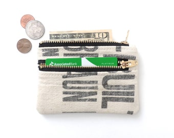 Canvas Wallet Coin Purse Double Zipper Pouch Recycled