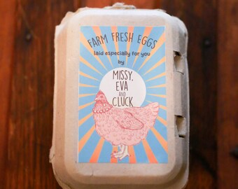 Custom Personalized Egg Carton Labels Chicken Coop Supplies Food Labels
