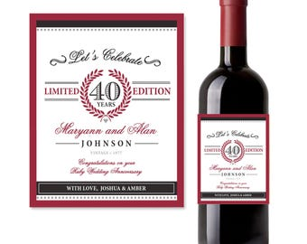 40th Anniversary printable wine label, Ruby Wedding Anniversary, Wedding Anniversary Gift | PRINTED