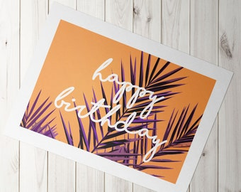 Pack of 4 Happy birthday Palm A5 greeting card //  blank inside