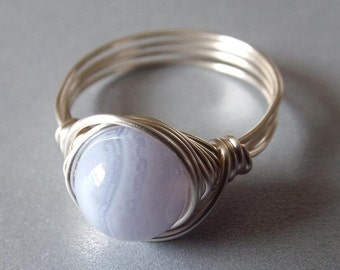 Blue Lace Agate Ring Wire Wrap Ring Pretty Blue Ring Silver Gemstone Ring Light Blue Ring Blue Stone Ring Sterling Silver Filled Ring