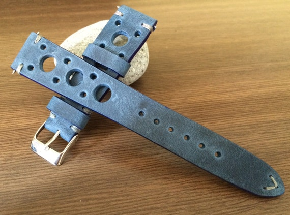 Leather watch band, Rally Watch band, Leather watch strap, distress blue watch band, Racing watch band, watch strap, 20mm lug, FREE SHIPPING
