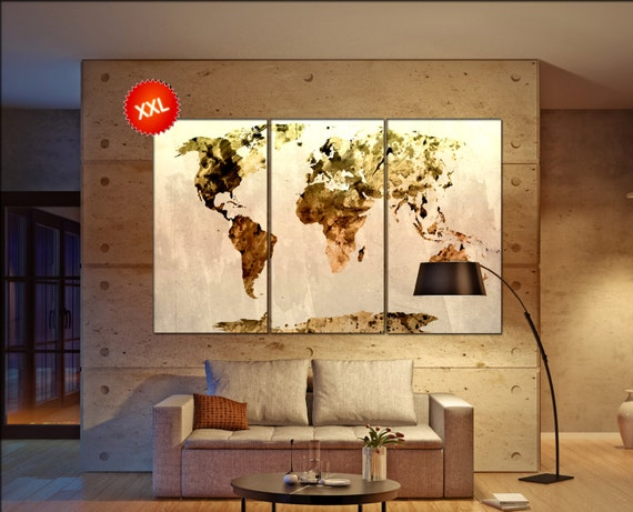 World Map yellow  print on canvas wall art World Map yellow Art Print artwork large world map Print home office decoration
