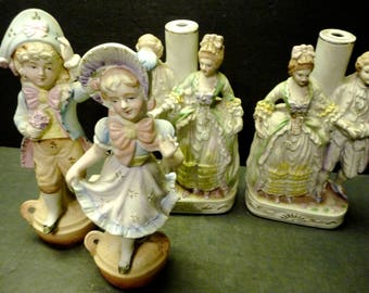 4 Pastel Figures -Boy & girl  made by Fern and a Victorian Couple - made in Occupied Japan- were boudouir lamps