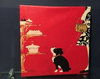 French Flea Market Patisserie - Dog with Pastries Print