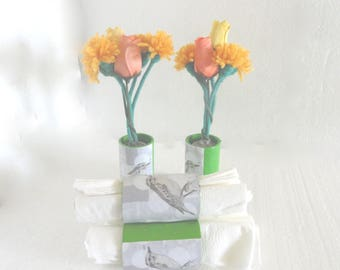 Towel and matching, bird floral vases