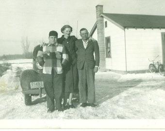 1940s Ohio Midwestern Family Parents Son Winter Plaid Wool Coat Snow Bike House Car 40s Vintage Photograph Black White Photo
