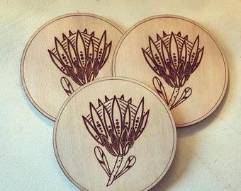 Protea wooden Coasters