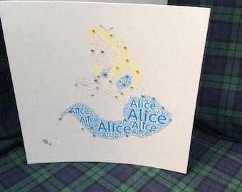 Personalised Word Art Alice Card