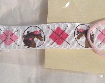 Handmade Horse Pacifier Clip Horse Heads on White w/pink squares