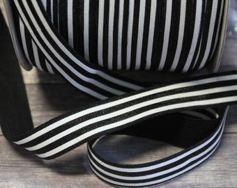 "5/8"" Black and White Horizontal Stripe DIY Headband Supplies Fold Over Elastic FOE Per Yard"