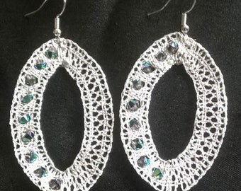 Earrings in silver thread and Swarovski