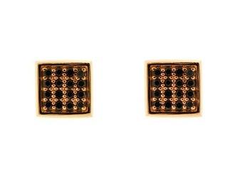 18k Rose Gold Black Diamond Earrings Cuadrado