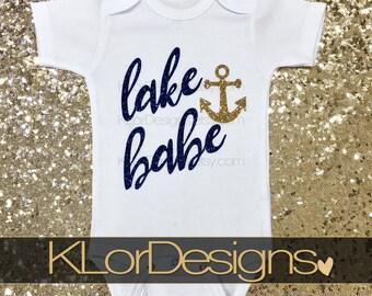 Lake Babe, boater baby, Summer baby outfit, beach baby beach babe, baby girl clothing, lake life, Lake Baby