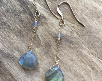 Dangle Faceted Labradorite Heart Briolette Gemstone Earrings. Rose or Yellow Gold Filled or Sterling Silver. February March Birthstone