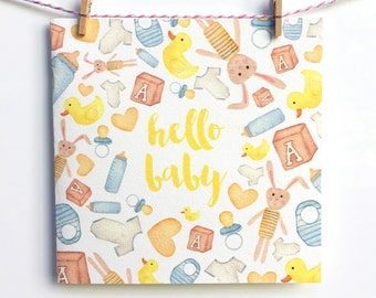 Hello Baby Watercolour Greeting Card