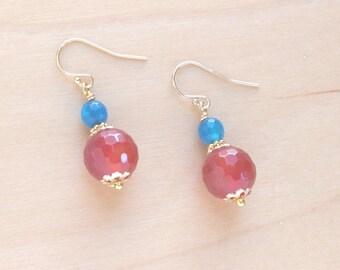 Carnelian Earrings | Orange Earrings | Blue Orange Dangle Earrings | Gold Fill | Gemstone Earrings | Eco Friendly Gifts | Wildflower Rising