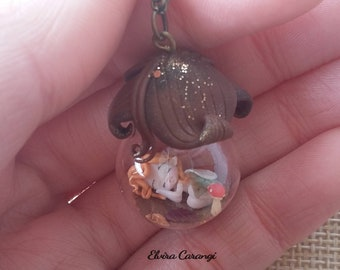 Fairy glass globe clay craft doll handmade