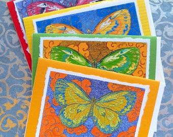 Papillon D'Esprit Four Assorted Hand Made Note Cards, Archival Reproductions of original watercolor etching.
