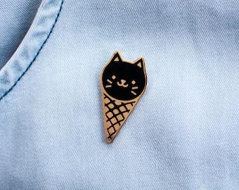 Ice Cream Cat Enamel Lapel Pin // black / gold / cloisonne pin / summer gift / ice cream lover / sweet tooth / black cat pin