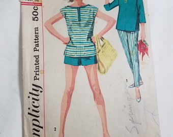 1960's  Simplicity Dress Sewing Pattern #2590, Size 12,  Bust 32