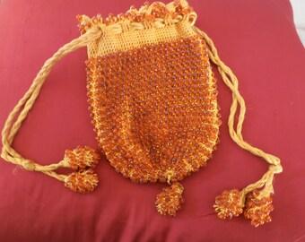 Antique Vintage Beaded Handbag Amber Beads Reticule Purse Crochet