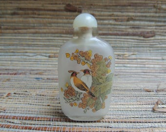 Vintage Glass Reverse Painted Snuff Bottle With Birds