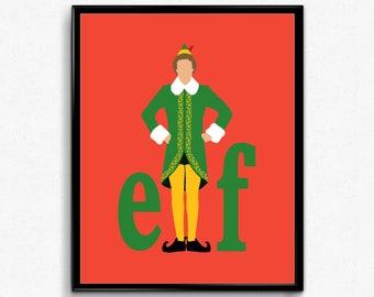 Elf Minimalist Movie Poster- Funny Film, Christmas Movie, Buddy the Elf