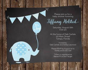 Elephant Baby Shower Invitations, Sprinkle, Boy, Chalkboard, Blue, Polka Dot, Baby Boy Sprinkle, 10 Printed Invites, FREE Shipping