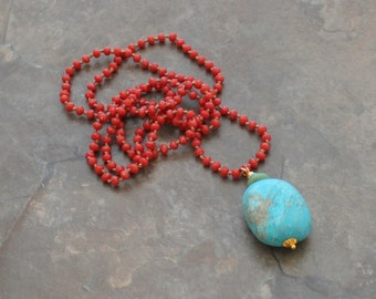 Turquoise Nugget Necklace, Coral Necklace, Coral and Turquoise Necklace, Hand-knotted Necklace, Boho Necklace, Festival Necklace, Bohemian